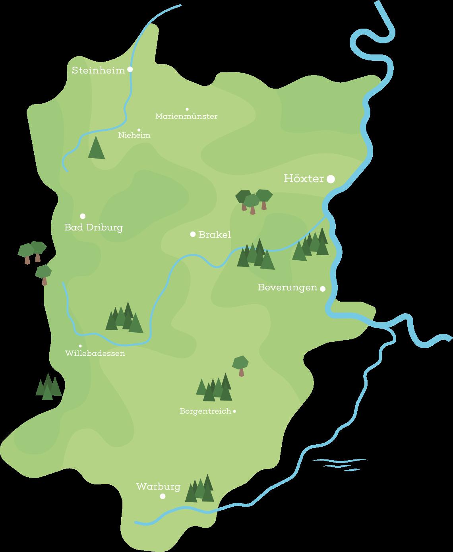 Gezeichnete Karte der x-Region